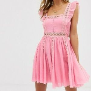 Free People Verona Lace Trim Crochet Pink Dress S